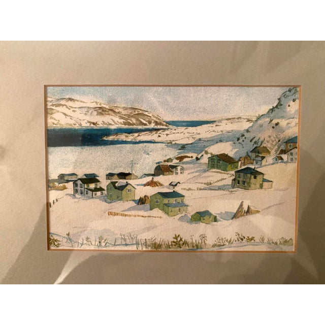 Winter Scene of a Lakeside Nordic Town Watercolor Painting, Framed For Sale - Image 4 of 11