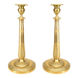 French Empire Bronze Candlesticks For Sale
