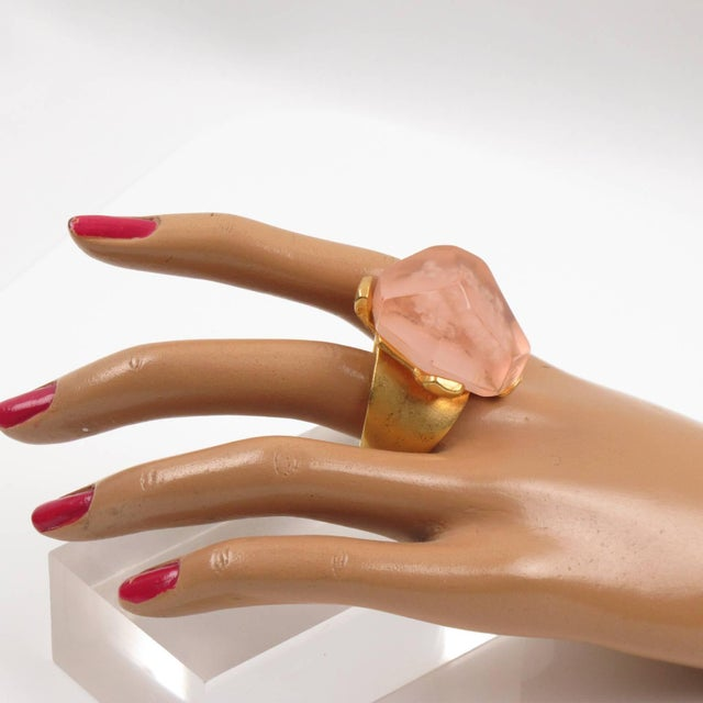Orange Dominique Denaive Paris Oversized Pink Resin Stone and Gilt Metal Cocktail Ring For Sale - Image 8 of 11
