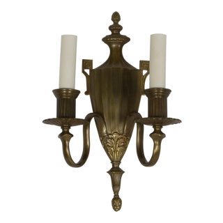 Urn Form Sconces With Porcelain Candlecovers, Set of Eight For Sale