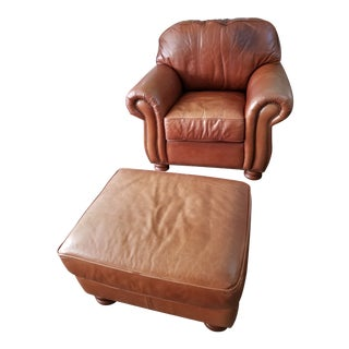 Ralph Lauren Style Club Leather Chair & Ottoman Last Markdown For Sale