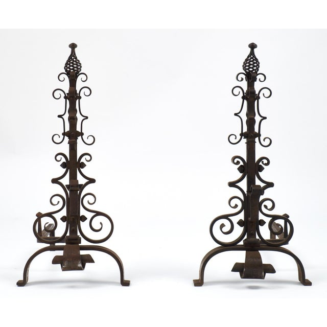 French vintage hand-hammered forged iron andirons. A superb mid-century pair for your fireplace. Circa: 1950