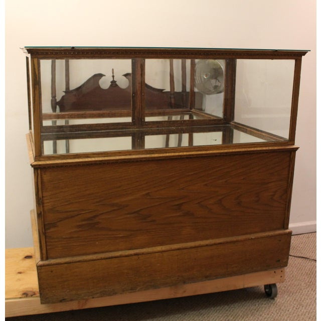 Antique Oak & Glass Mirrored Display Case - Image 3 of 11