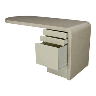 Cantilever Lacquered White Bone Tile File Drawer Desk Writing Table For Sale