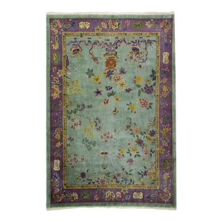 1920s Vintage Art Deco Chinese Area Rug - 9′ × 10′8″ For Sale