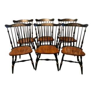 Set 6 Vintage Hitchcock Dining Chairs- Excellent! For Sale