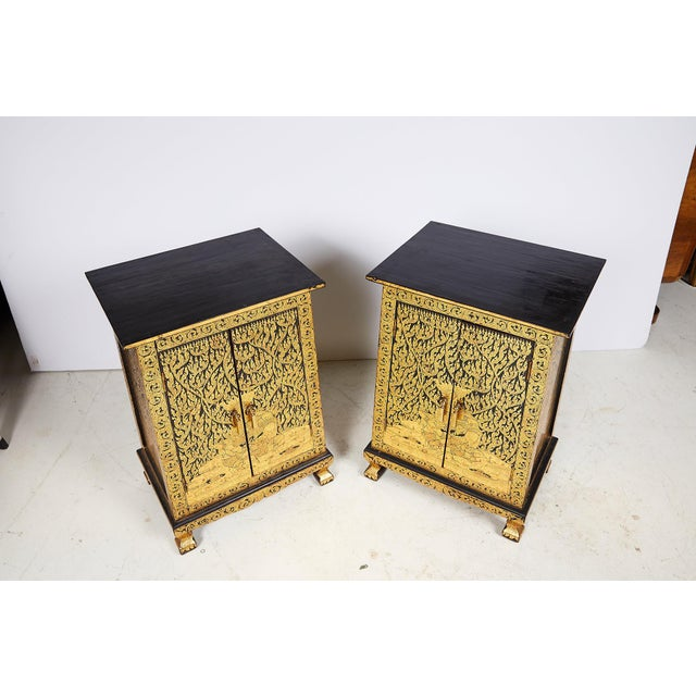 1970s Pair of Thai Manuscript Cabinets of Lacquer and Gold Leaf, 20th Century For Sale - Image 5 of 13