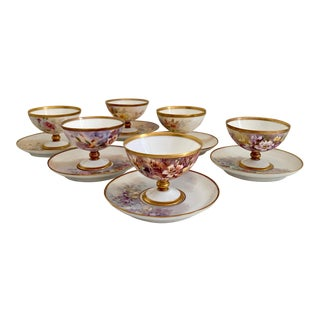Set of Antique Limoges Porcelain Cups and Saucers For Sale