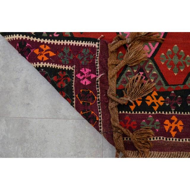Vintage Anatolian Kars Kilim Rug Large Runner - 4′ × 11′10″ - Image 9 of 9