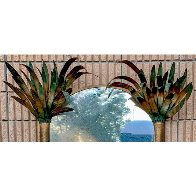 Hollywood Regency Pair of Gilt Metal Hollywood Regency Tole Palm Tree Mirrors For Sale - Image 3 of 5