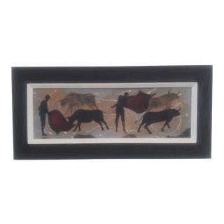 """1950s """"Matadors and Bulls"""" Tempera Painting by Edgar Stareck, Framed Mid-Century Modern For Sale"""
