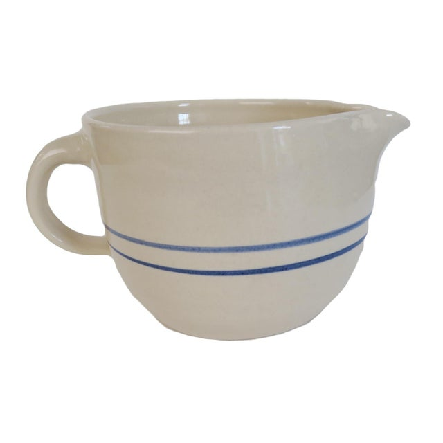 1980s Vintage White and Blue Striped Pottery Stoneware Crock Batter Pitcher Mixing Bowl For Sale - Image 5 of 5