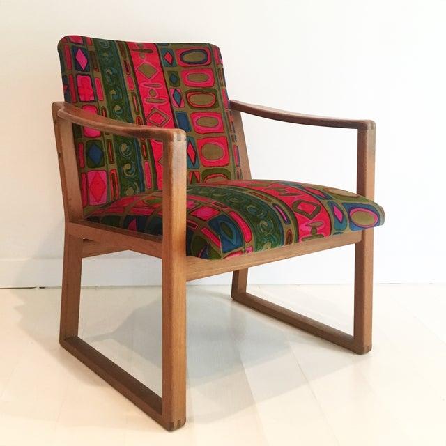 borge mogensen chair with jack lenor larsen fabric chairish. Black Bedroom Furniture Sets. Home Design Ideas