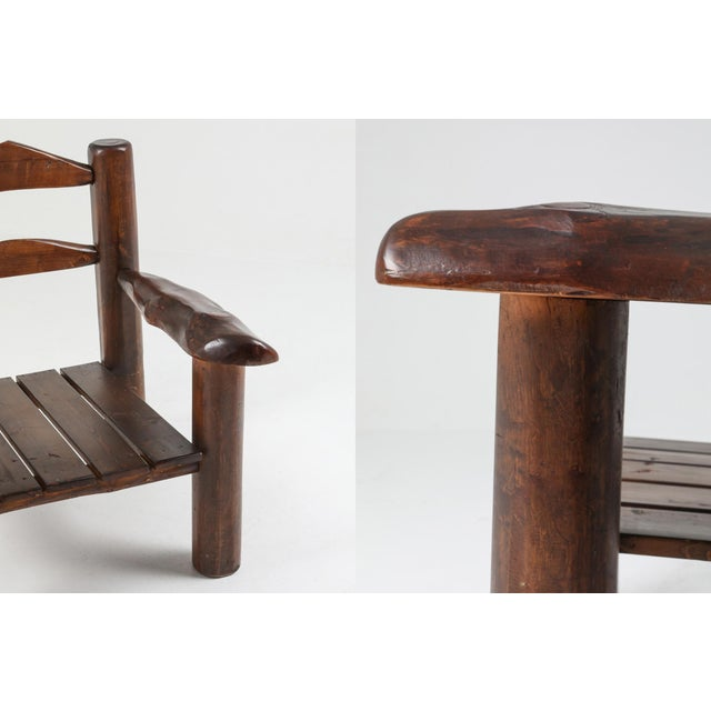 1950s Rustic Wooden Wabi Sabi Lounge Chairs For Sale - Image 10 of 11