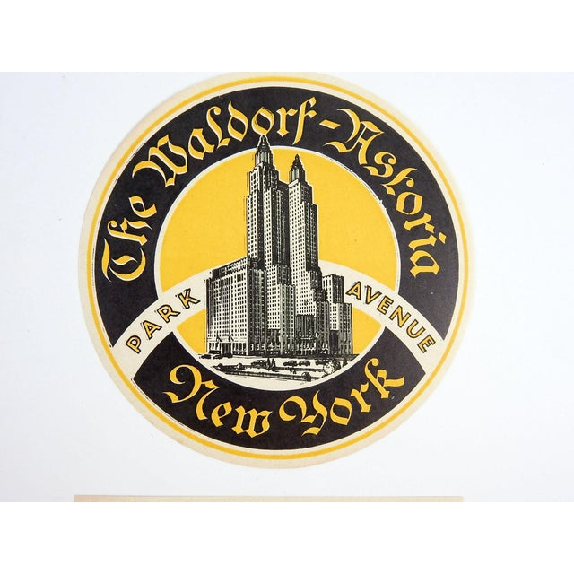 Traditional Waldorf Astoria Hotel New York Luggage Labels - A Pair For Sale - Image 3 of 3