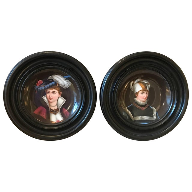 Black 19th Century Traditional Porcelain Portrait Plates With Original Frames - a Pair For Sale - Image 8 of 8