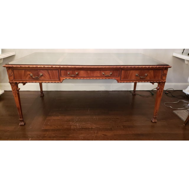 Brown English Ornate Writing Desk For Sale - Image 8 of 8