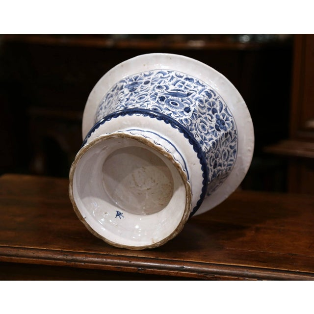 19th Century French Faience Painted Cache Pot For Sale - Image 4 of 7