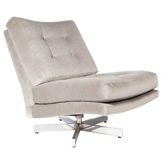 MILO BAUGHMAN SWIVEL CHAIR WITH CHROME BASE For Sale