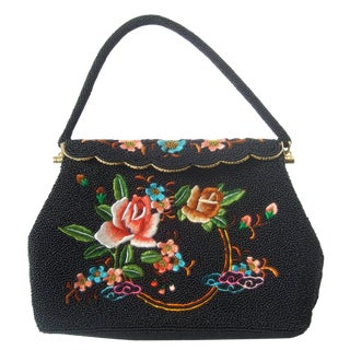 Exquiste Black Glass Beaded Embroidered Evening Bag C 1960 For Sale