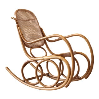 1960s Vintage Thonet for Stendig Bentwood and Cane Rocking Chair For Sale