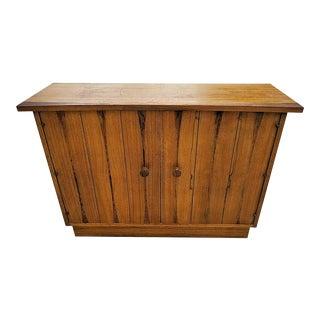 Vintage MCM Lane Narrow Tv Stand Entryway Multi-Purpose Cabinet Brass Door Pulls For Sale