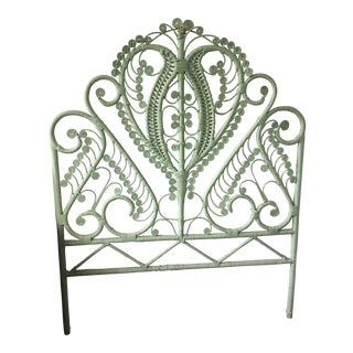 1960s Mid-Century Green Rattan Peacock Twin Headboard For Sale