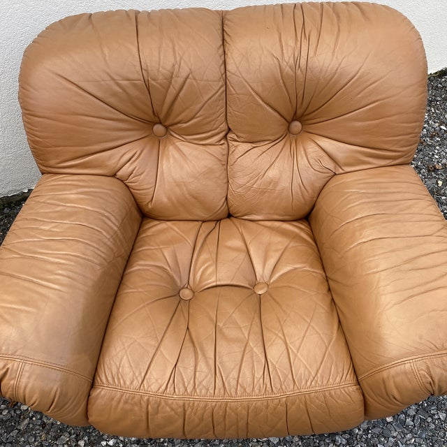 Oversized Italian Leather Club Chairs - a Pair For Sale - Image 4 of 13