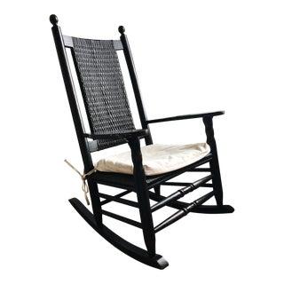 Vintage Rustic Black Painted Rocking Chair