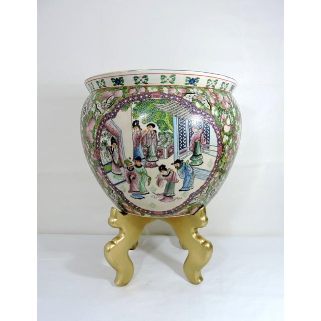 Asian Mid 20th Century Rose Mandarin Goldfish Bowl Planter and Stand For Sale - Image 3 of 8