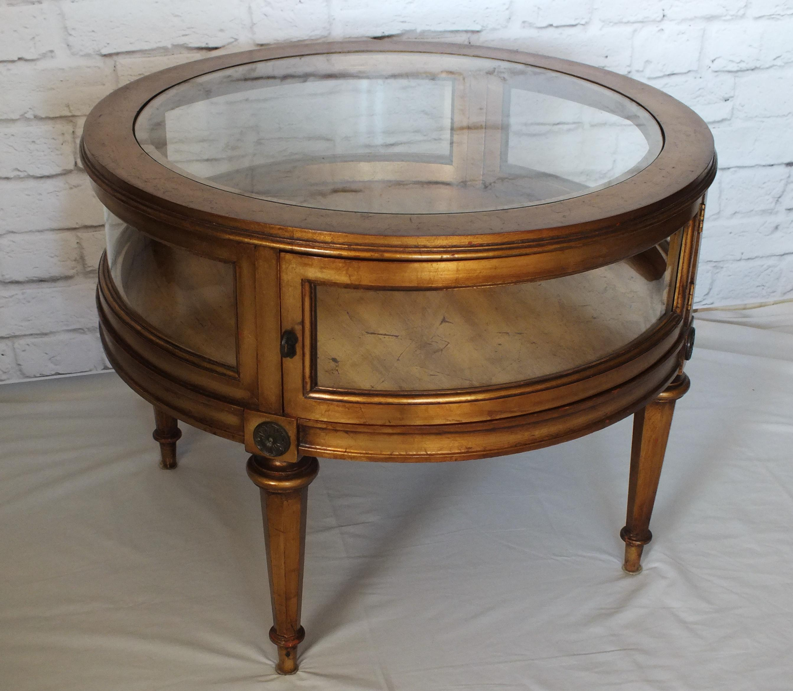 Vintage Weiman Gilded Round Vitrine Curio Table Chairish