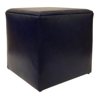 Leather Craft Modern Blue Leather Cube Ottoman For Sale