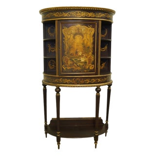 """1920's French Provincial Louis XVI Painted 38"""" Half Moon Accent Cabinet For Sale"""