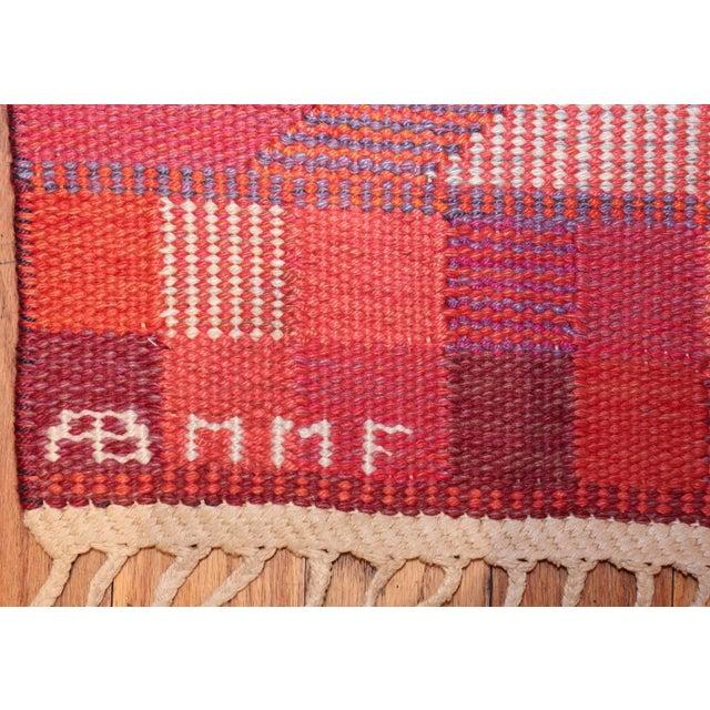 Orange Vintage Marta Maas Scandinavian Geometric Rug by Barbro Nilsson - 6′3″ × 8′2″ For Sale - Image 8 of 11
