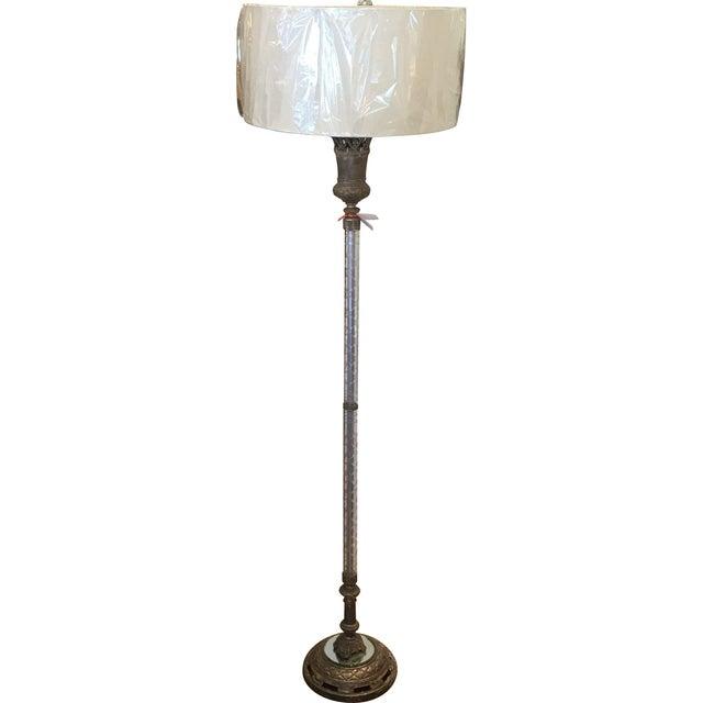 Art Deco Silvered Bronze & Crystal Floor Lamp - Image 1 of 3