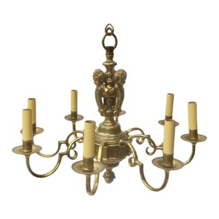 Antique English Brass Figural Chandelier For Sale