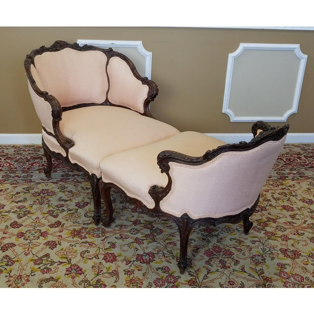 Antique french carved mahogany duchesse brisee chaise for Carved chaise lounge