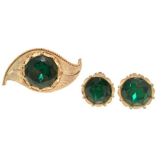 """1950's Gold & Emerald Art Glass """"Evil Eye"""" Demi Parure S/3 By, Charel For Sale"""
