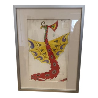 1920s Vintage Lester Design Company Watercolor Painting For Sale