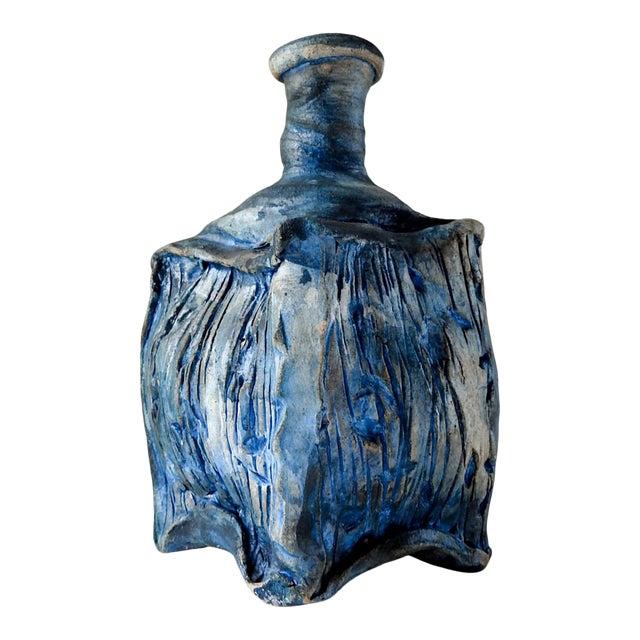 Studio Raku Pottery Bottle or Vase For Sale
