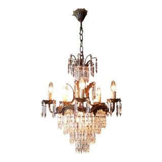 Crystal Chandelier Old Ceiling Lamp Brass Lustre Lights, 1940s For Sale