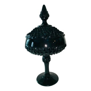 Early 20th Century Indiana Glass Co. Black Diamond Point Pedestal Dish W/Lid For Sale