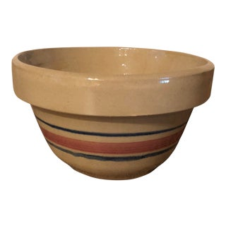 Final Price Vintage McCoy Rrp Company Pink and Blue Striped Mixing Bowl For Sale