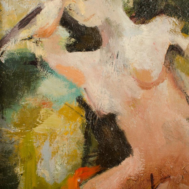 Figure in Sea, abstract figure of a woman surrounded by movement - Oil on Wood - Framed dimensions: 21.25 in x 24.25 in;...