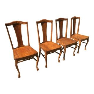 1800s Solid Tiger Ribbon Oak Farm Side Chairs - Set of 4 For Sale