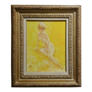 Louis Fabien -Nude Female in the Outdoors -Oil Painting 1969 For Sale