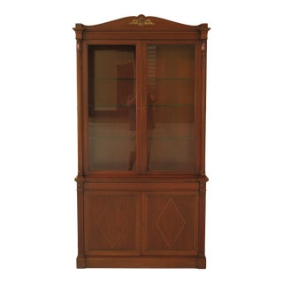 Vintage French Empire Style Mahogany China Cabinet For Sale