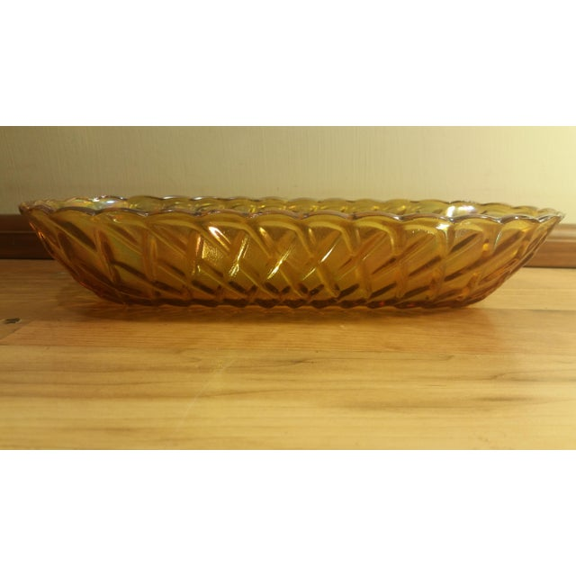 Mid-Century Modern Marigold Carnival Glass Oblong Dish For Sale - Image 3 of 5