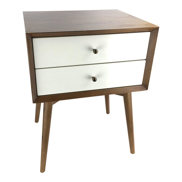 West Elm MidCentury Style TwoTone Nightstand Side Table Chairish - West elm mid century side table