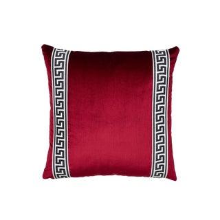 Schumacher Venetian Silk Velvet Pillow in Port Red For Sale
